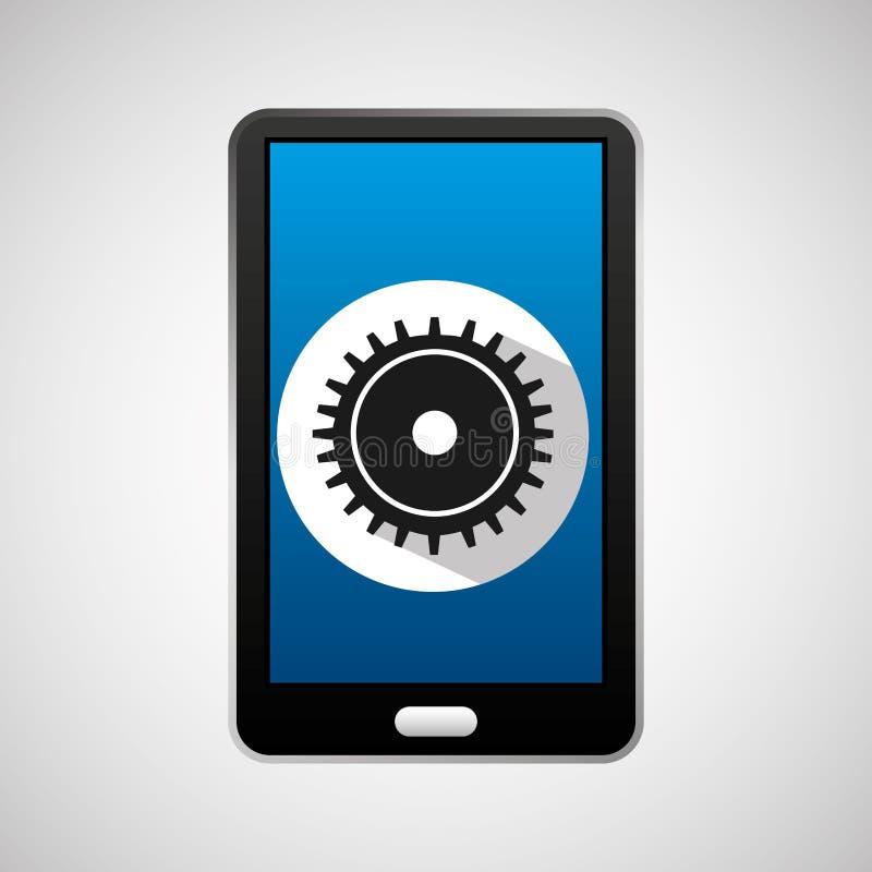 Mobilt processkugghjul för socialt massmedia stock illustrationer