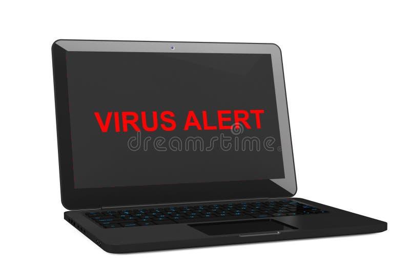 Mobilt säkerhetsbegrepp Infekterad bärbar dator för virus framförande 3d royaltyfri illustrationer
