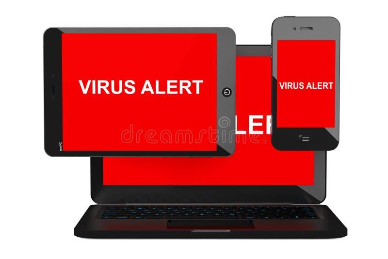 Mobilt säkerhetsbegrepp Infekterad mobiltelefon för virus, minnestavlaPC vektor illustrationer