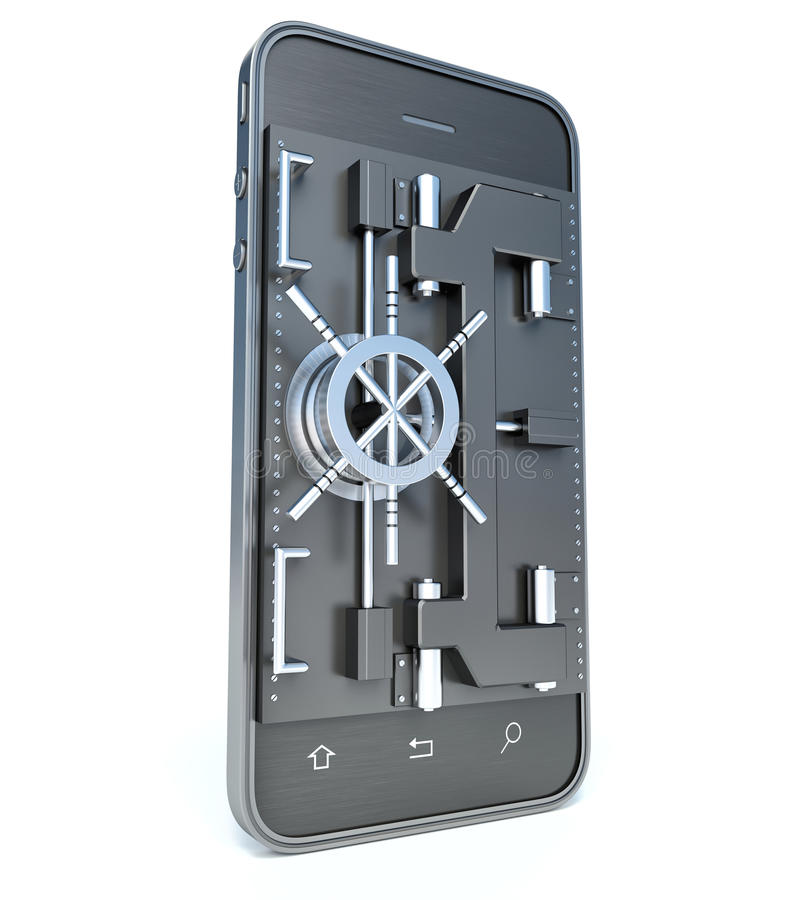 Mobilt säkerhetsbegrepp Smartphone med valvet eller den säkra dörren 3d royaltyfri illustrationer