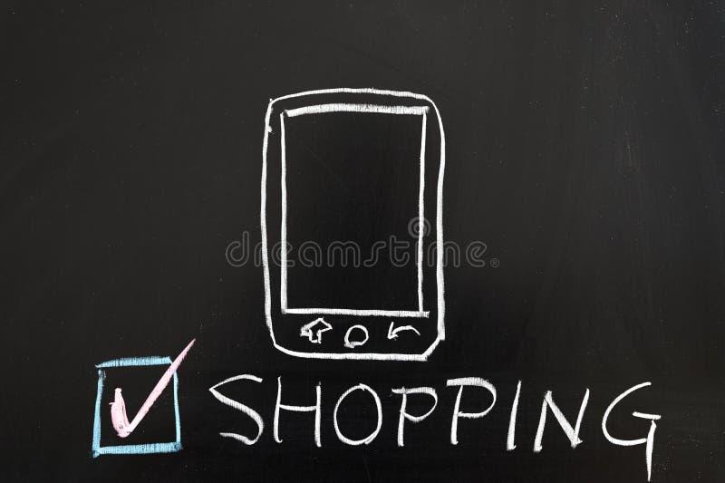 Mobilt shoppingbegrepp royaltyfri fotografi