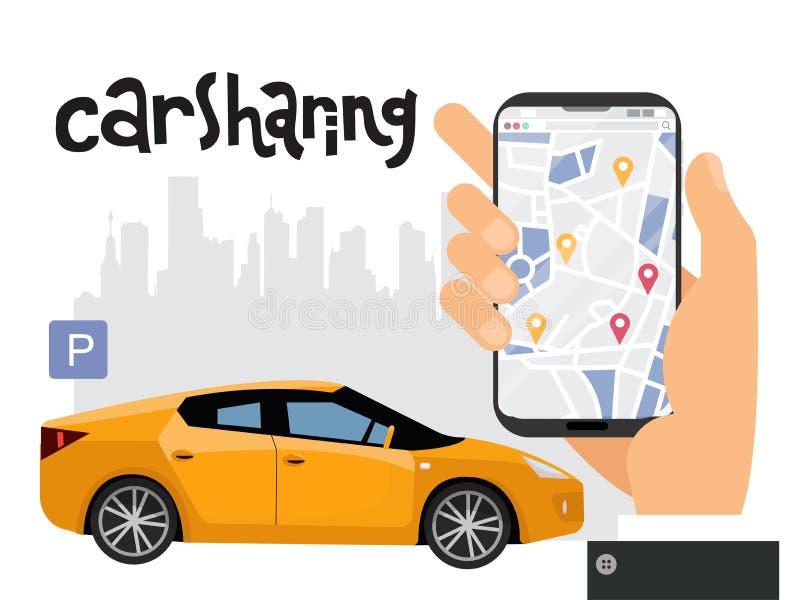 Mobilt stadstrans.begrepp, online-dela för bil med den manliga handinnehavsmartphonen Översikt av staden med tecken av stock illustrationer