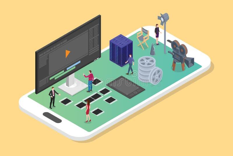 Mobilt videopn redigera och produktion på smartphonen med den olika uppsättningen av filmproduktioner med modern isometrisk plan  stock illustrationer