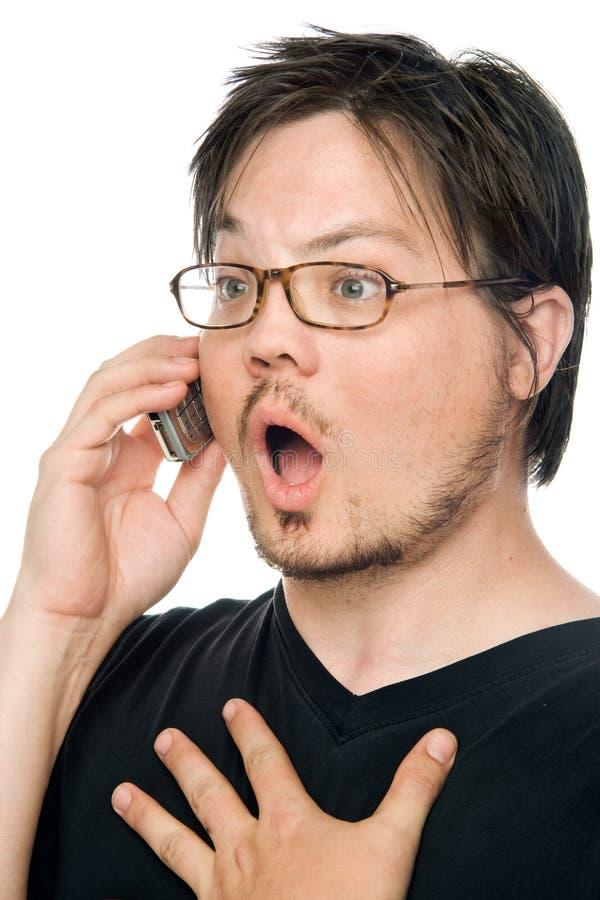 Mobiltelefonüberraschung lizenzfreie stockbilder
