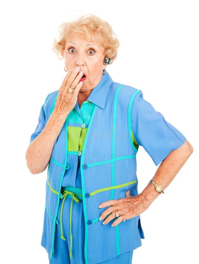 Mobiltelefon-ältere Frau - Schlag lizenzfreies stockfoto