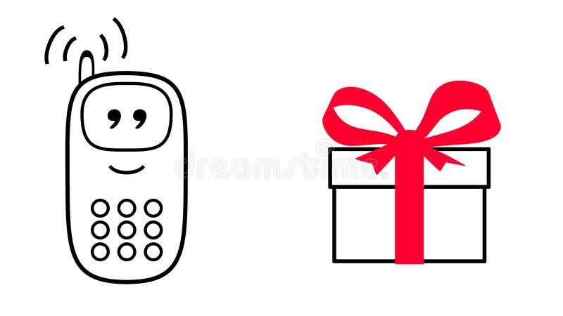 Mobiltelefon bredvid gåvaasken Tecknad filmstil royaltyfri illustrationer