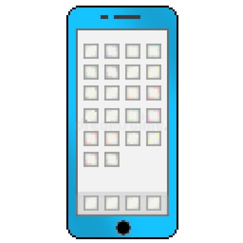 Mobiltelefon för bit för PIXEL 8 utdragen mångfärgad med tomma apptumnaglar stock illustrationer