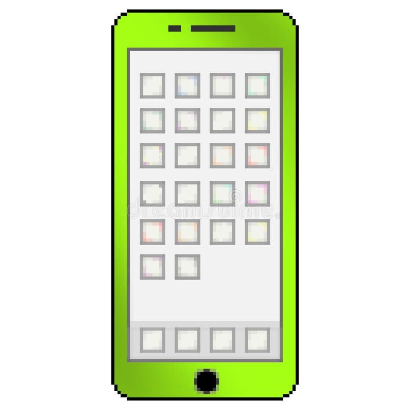 Mobiltelefon för bit för PIXEL 8 utdragen mångfärgad med tomma apptumnaglar royaltyfri illustrationer