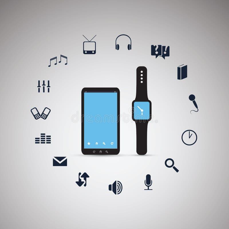 Mobiltelefon för elektroniska apparater med den smarta klockan - beräknande design för moln vektor illustrationer