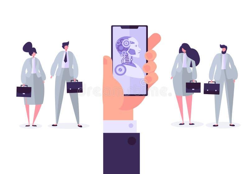 Mobiltelefon för konstgjord intelligens med botappen stock illustrationer