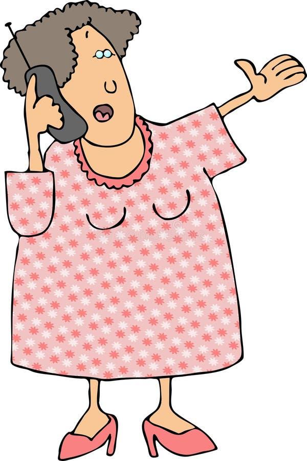 mobiltelefon genom att använda kvinnan royaltyfri illustrationer