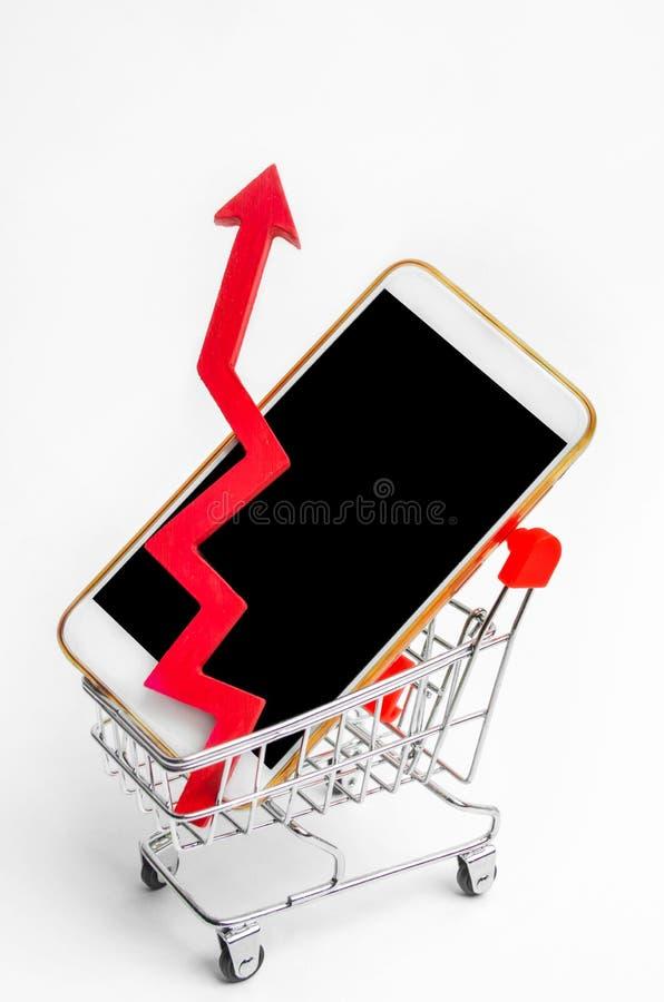 Mobiltelefon i en supermarketspårvagn och en röd pil upp hög begäran för köpet av en smartphone Bärbar dator med markisen konsume royaltyfria foton