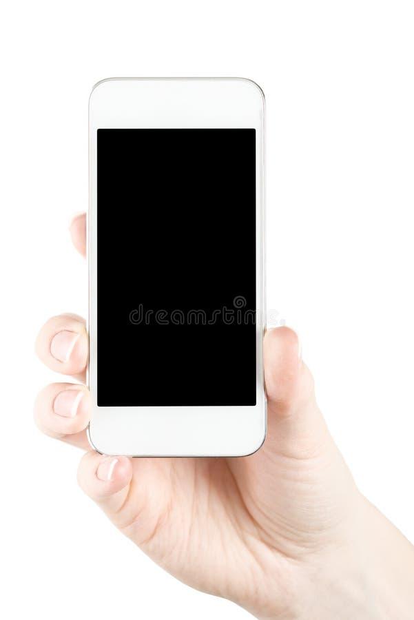 Mobiltelefon i hand arkivbild