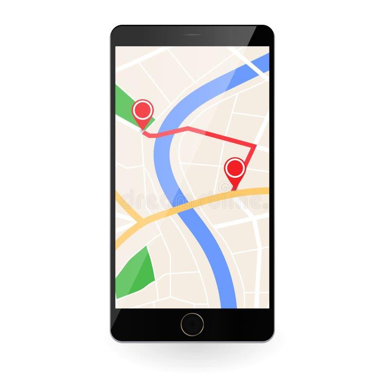 Mobiltelefon med översiktsplan av staden stock illustrationer
