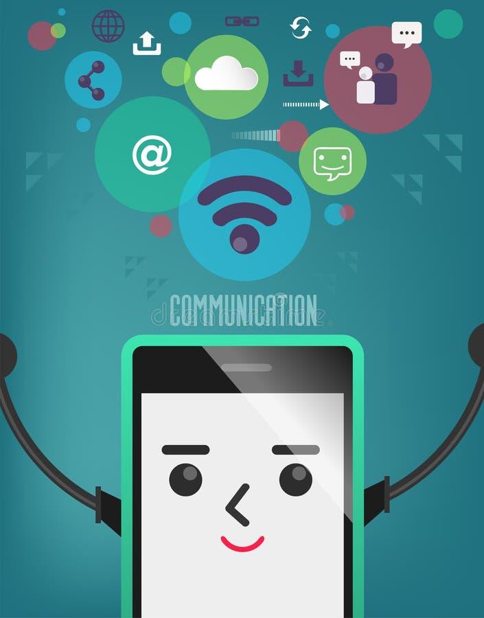 Mobiltelefon med anslutningsbubblan, kommunikation, anslutning royaltyfri illustrationer