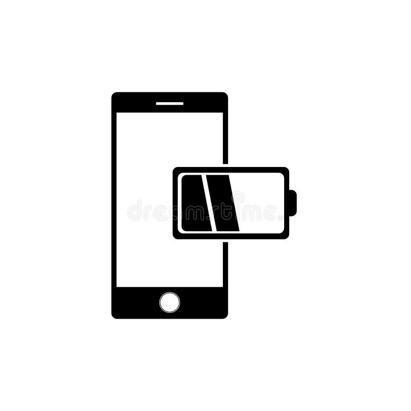 Mobiltelefon med den låga vektorn för batterirapportsymbol i modern plan stil vektor illustrationer