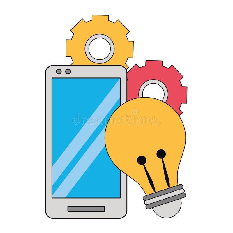 Mobiltelefon med den ljusa kulan och kugghjul royaltyfri illustrationer