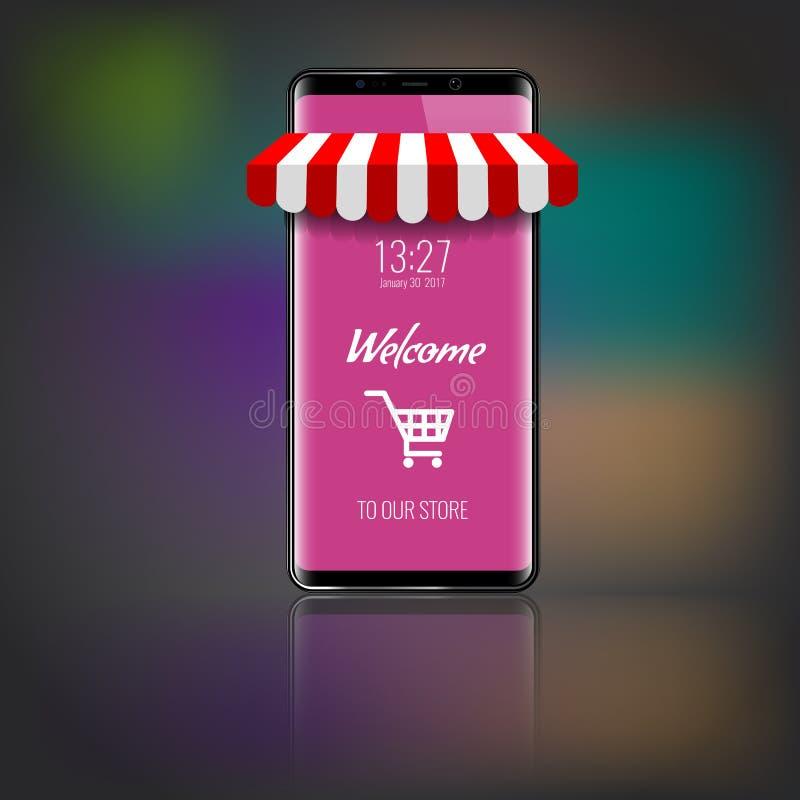 Mobiltelefon med den randiga markisen f?r lager eller f?r marknad och den shoppasymbolen eller vagnen ocks? vektor f?r coreldrawi stock illustrationer