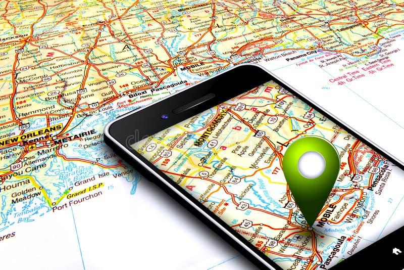 Mobiltelefon med gps och översikt i bakgrund arkivfoton