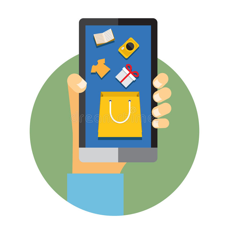 Mobiltelefon med internet eller online-shopping stock illustrationer