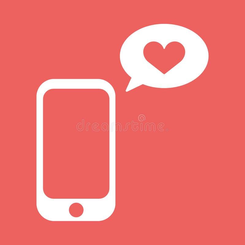 Mobiltelefon med med samtalbubblan och hjärtaform Plan vektorillustration Förälskelsemeddelandesymbol royaltyfri illustrationer