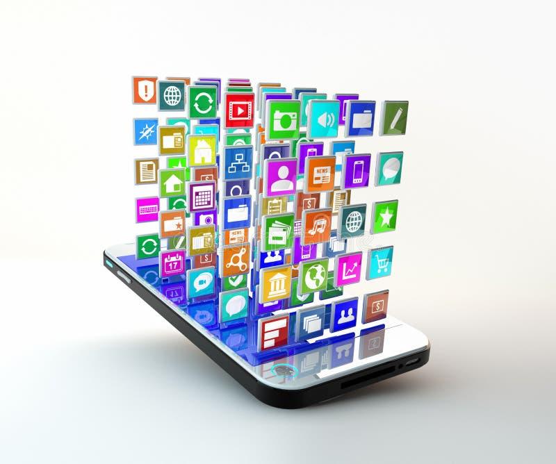 Mobiltelefon med molnet av applikationsymboler stock illustrationer