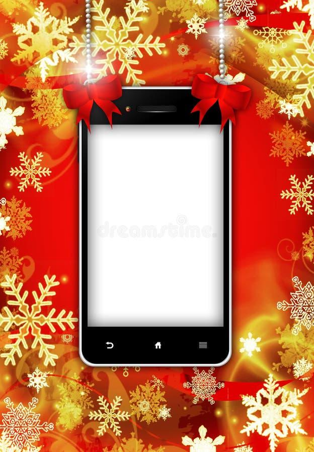 Mobiltelefon med stället för text med julbakgrund stock illustrationer