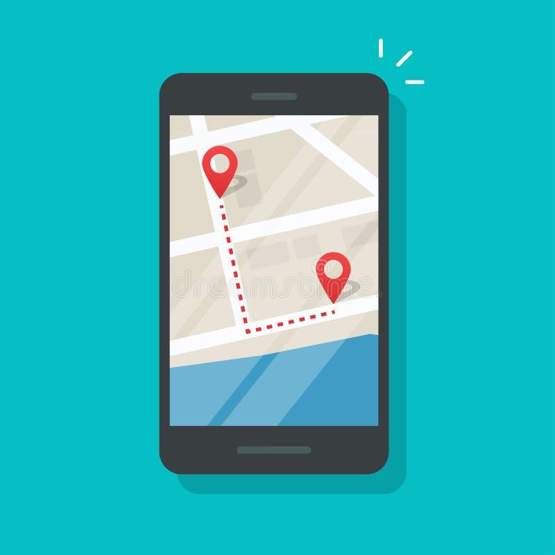 Mobiltelefon med stift för stadskarta och isolerad vektorikon för spårningsvektorer, platta cartoon mobiltelefonnavigator vektor illustrationer