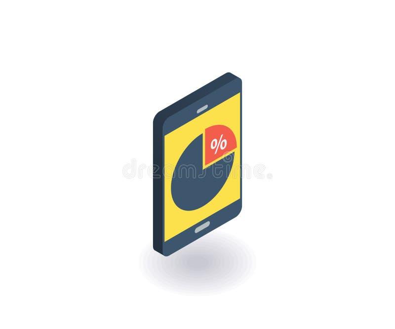Mobiltelefon med symbolen för pajdiagram Vektorillustration i plan isometrisk stil 3D royaltyfri illustrationer