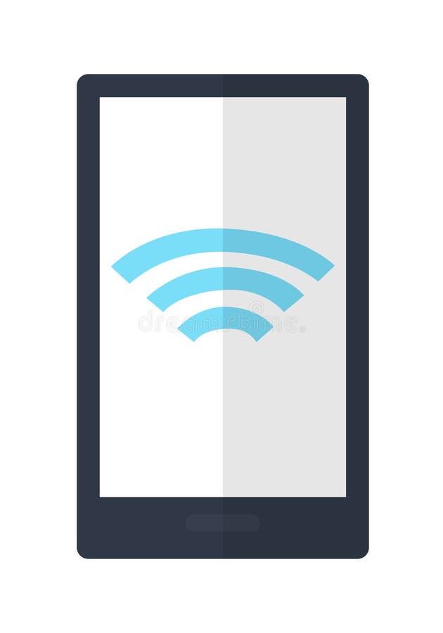 Mobiltelefon med trådlösa den isolerade teckensymbolen stock illustrationer