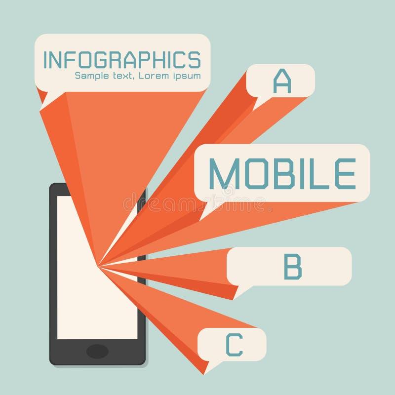 Mobiltelefon- och anförandebubblainfographics stock illustrationer