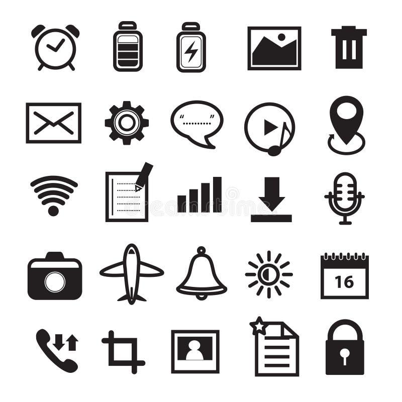 Mobiltelefon- och applikationsymbolsuppsättning stock illustrationer