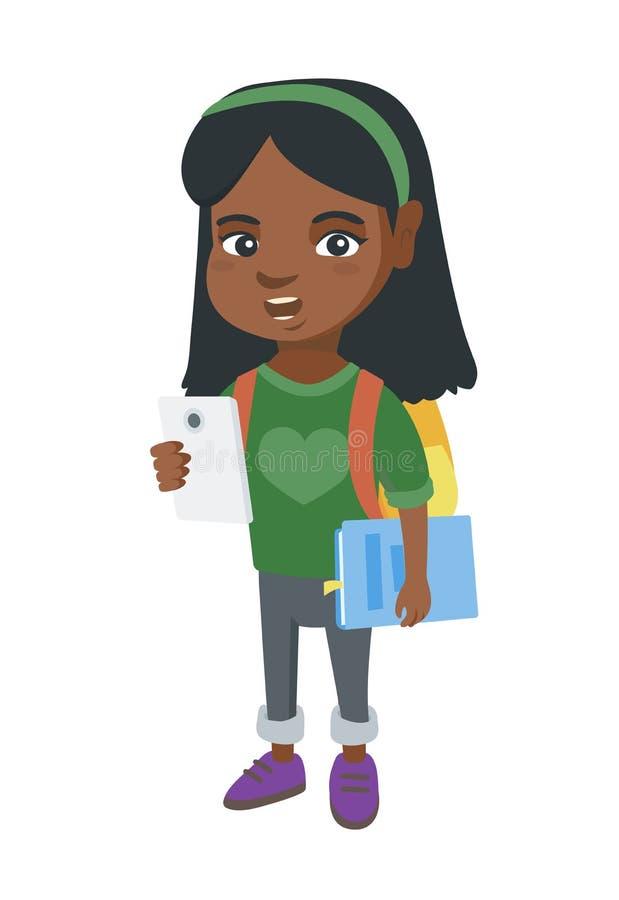 Mobiltelefon och lärobok för afrikansk skolflicka hållande royaltyfri illustrationer