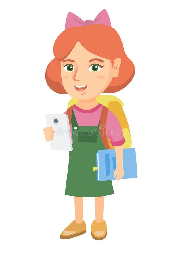Mobiltelefon och lärobok för liten skolflicka hållande stock illustrationer