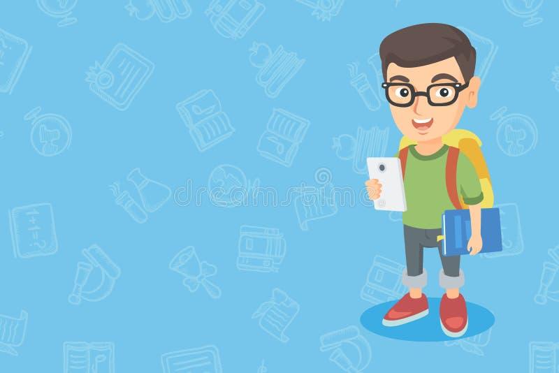 Mobiltelefon och schoolbook för Caucasian pojke hållande royaltyfri illustrationer