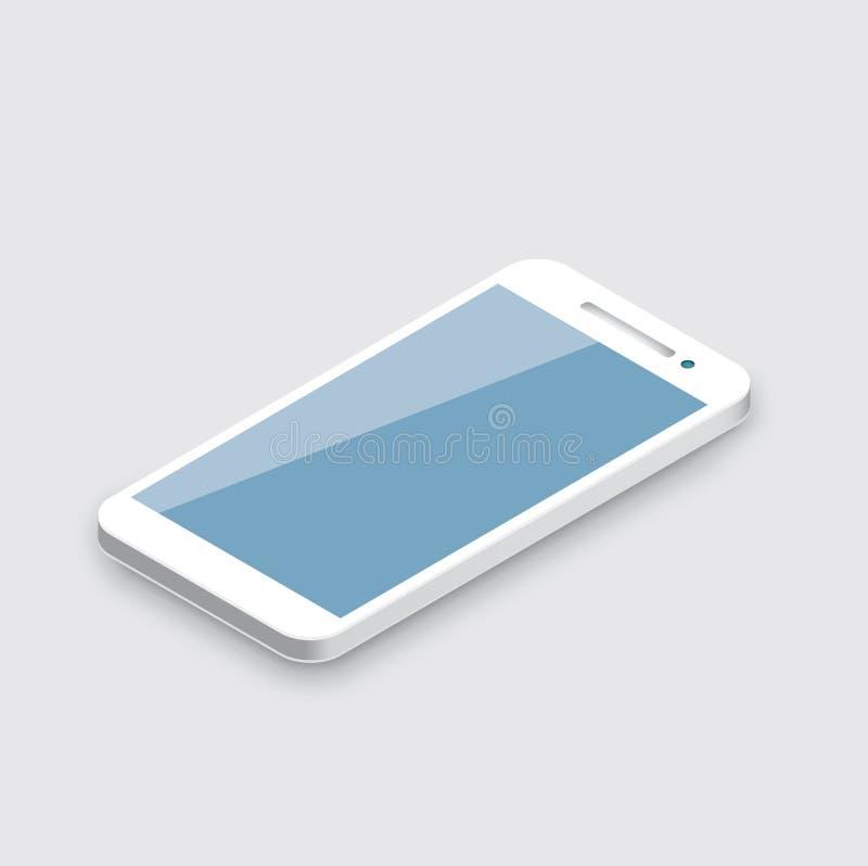 Mobiltelefon på vit. Realistisk vit 3d royaltyfri illustrationer