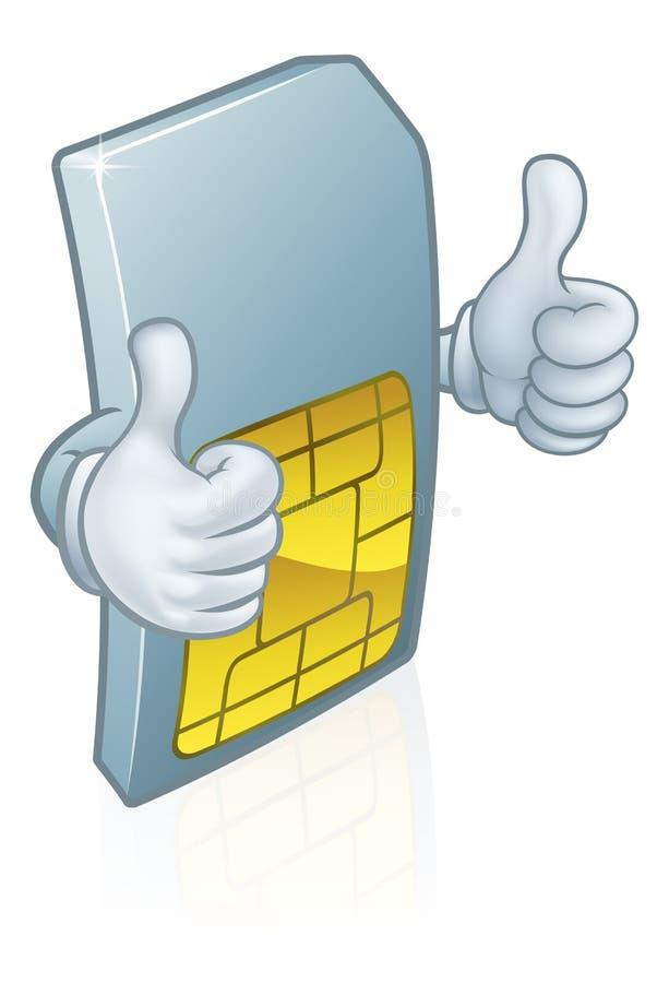 Mobiltelefon Sim Card Cartoon Mascot royaltyfri illustrationer