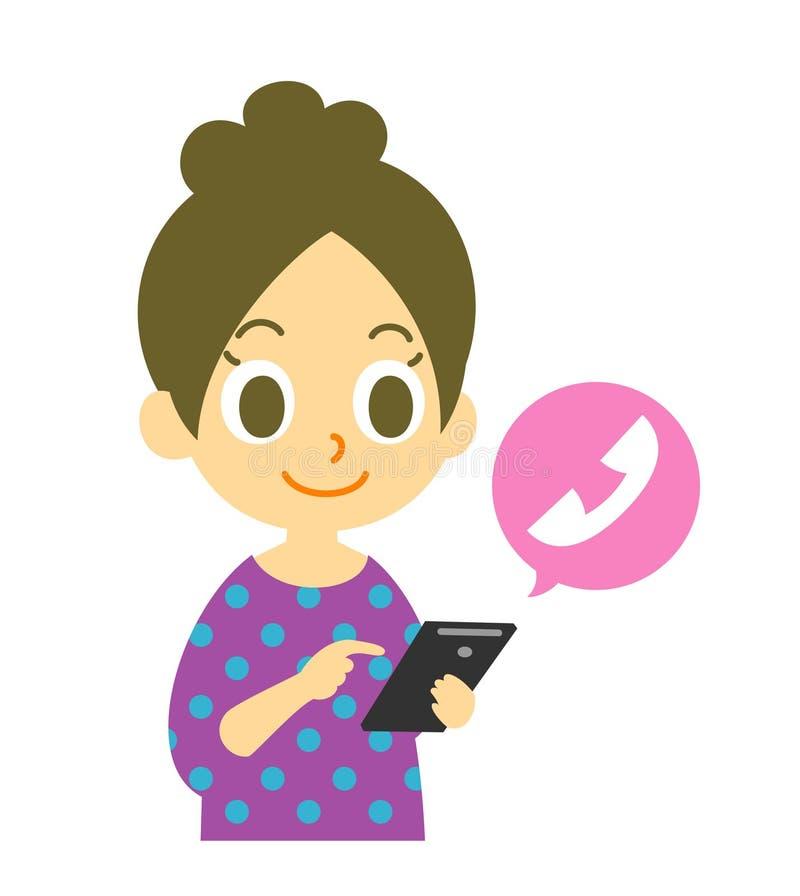 Mobiltelefon som kallar, kvinna royaltyfri illustrationer