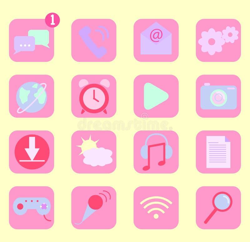 Mobiltelefonapp-symboler stock illustrationer