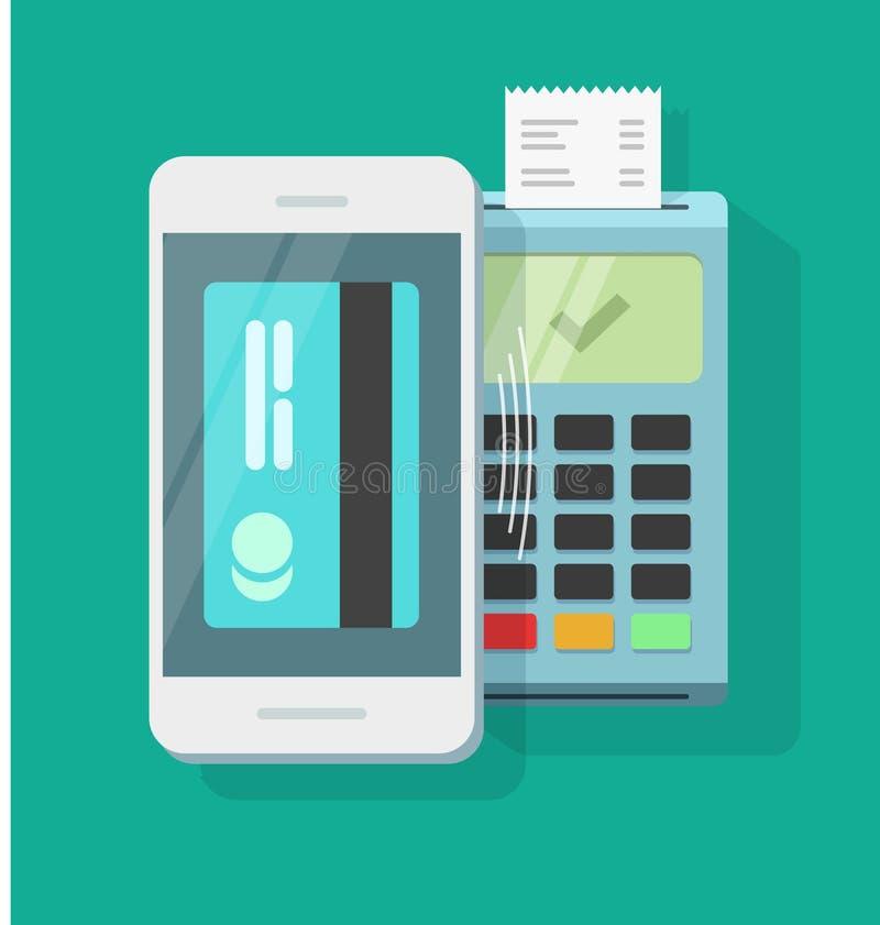 Mobiltelefonbetalning som bearbetar trådlös teknologi, smartphoneluftlön stock illustrationer
