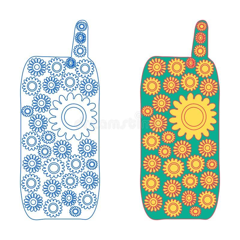 Mobiltelefonen som blommar - version två - fodra symbolen och med kulör fyllning royaltyfri illustrationer