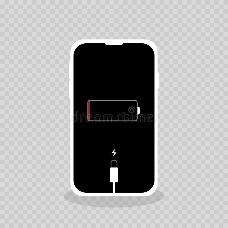 mobiltelefonen urladdade att kräva laddande batterisvart royaltyfri illustrationer