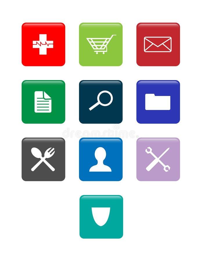 Mobiltelefoner för applikation för vektor för Smartphone app symbolsuppsättning stock illustrationer