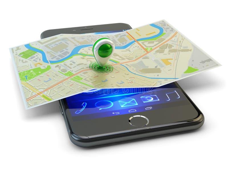 Mobiltelefongps-navigering, loppdestination, läge och positioneringbegrepp vektor illustrationer