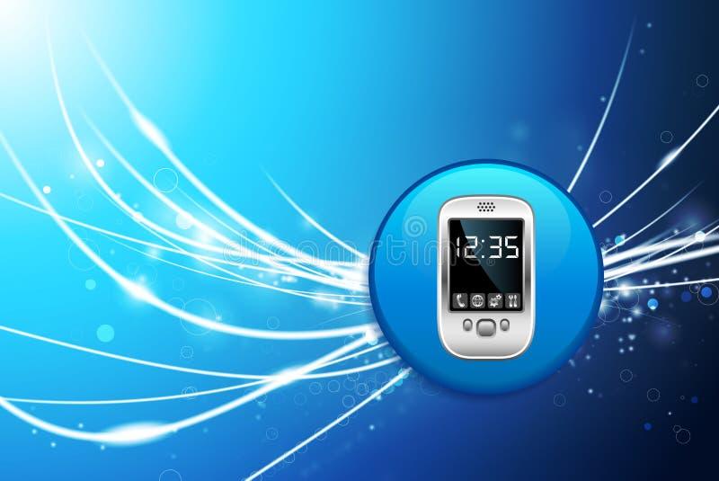 Mobiltelefonknapp på bakgrund för blåttabstrakt begreppljus vektor illustrationer