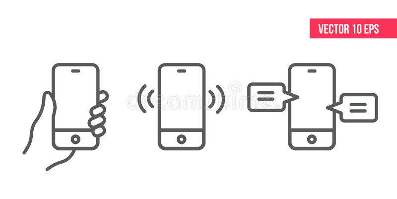 Mobiltelefonlinje IconSmartphone med den vita skärmvektorn eps10 stock illustrationer
