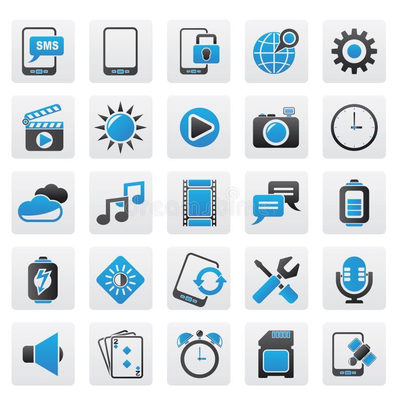 Mobiltelefonmanöverenhetssymboler royaltyfri illustrationer