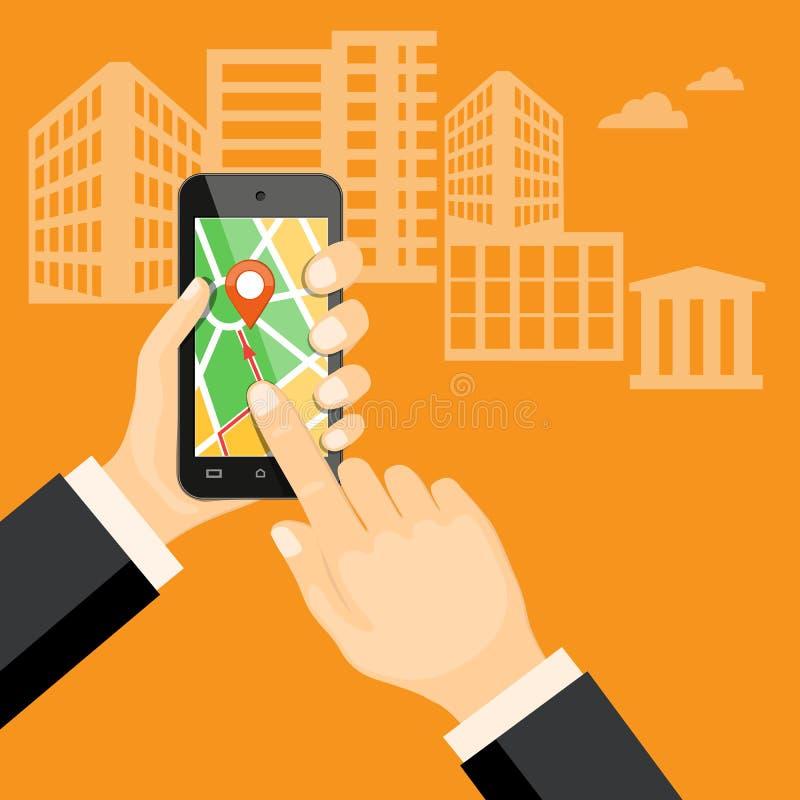 Mobiltelefonnavigatör i handen stock illustrationer