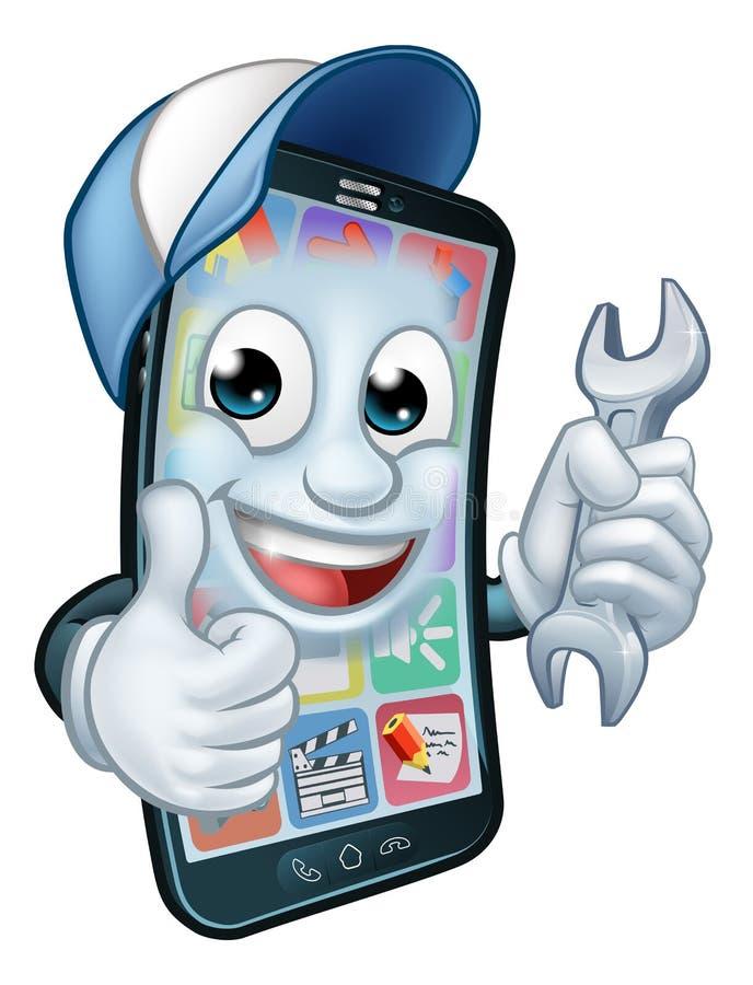 Mobiltelefonreparationsskruvnyckeln tummar upp tecknad film stock illustrationer