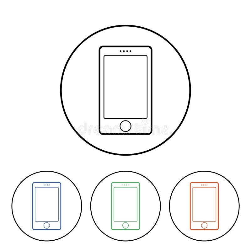Mobiltelefonservicesymbol smartphonesymbol i cirkeln för vektorn eps10 för webbplatsmenydesign vektor illustrationer